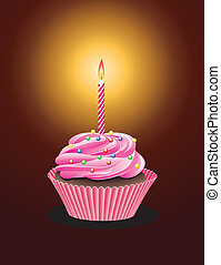 cupcake - vector cupcake with sprinkles and burning candle