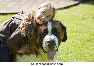 My Best Friend - Little Blond Girl Hugging Her Saint Bernard
