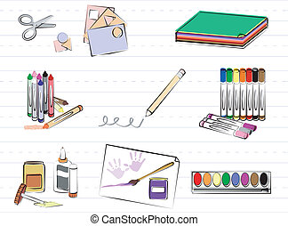 School and Art Supplies - School supplies for young children...