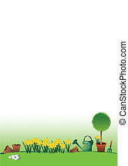 Easter garden - A hand drawn illustration of an easter...
