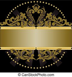 black background with bronze ornament and shiny horizontal...