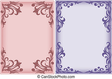 two frames with swirls