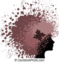hair from paint - silhouette of a female head of luxuriant...