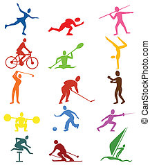 Sports icons - Collection of icons of sportsmen. A vector...