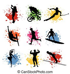 Sports silhouettes - Black silhouette of the sportsman...