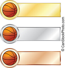 Basketball medals isolated on the white background. Vector.