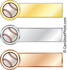 Baseball medals isolated on the white background. Vector.