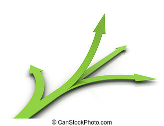 Green arrows on white background - choice concept