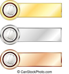 Volleyball medals isolated on the white background. Vector.