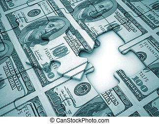 Money puzzle blue tone