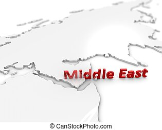 Middle east region - 3d illustration, Middle east region...