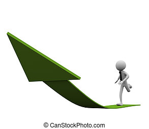 3d man running on arrow - 3D man running on the road of...