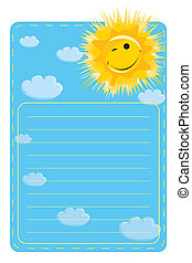 label with a picture of sun and clo