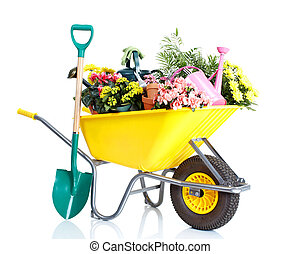 Gardening - potted flowers and gardening equipment isolated...