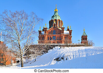 Helsinki. Assumption Cathedral in winter - Helsinki,...