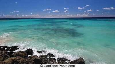 Waves in Barbados - Light waves along the coast of Barbados...