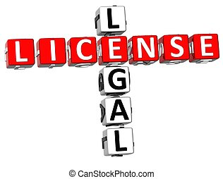 Legal License Crossword - 3D Legal License Crossword on...
