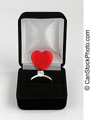 diamond engagement ring with red valentines heart - diamond...