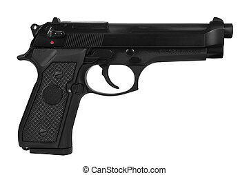Automatic handgun - Black semi automatic handgun isolated on...