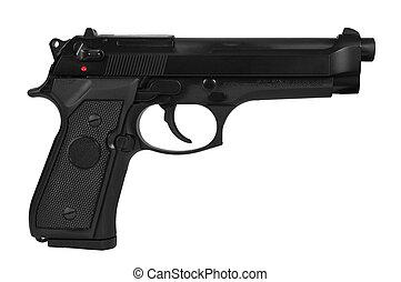 Automatic handgun - Black semi automatic handgun isolated on...