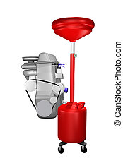 red oil drain and engine concept - red wheeled automotive...