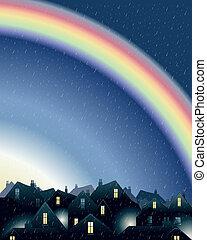 rainbow over rooftops