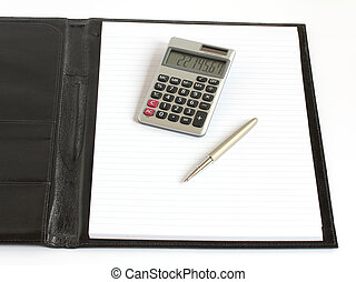 leather folder with notebook pen and calculator