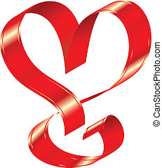 vector shiny red ribbon in the shape of a heart