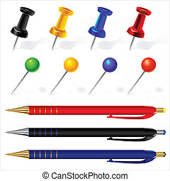 vector set of pens and pins different colors