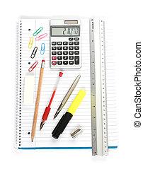 notebook calculator ruler pens