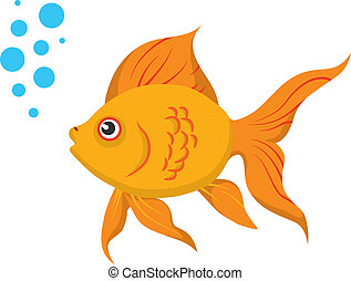 Goldfish - A cute goldfish isolated on a white background No...