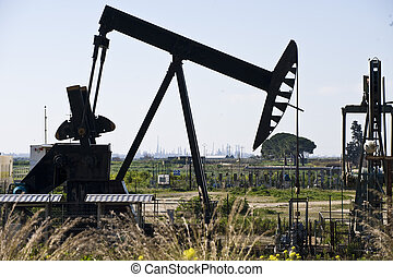 Oil extraction, Oil industry - Oil extraction in Sicily,...