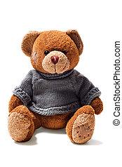 Marrom, brinquedo, remendos, pelúcia, suéter, urso, verde