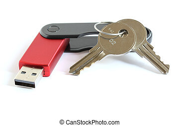 USB flash memory drive stick with keys - red USB flash...