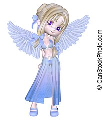 Cute Little Blue Angel Toon - Cute little blue toon angel,...