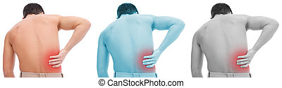 Back pain collage - Young man having pain in his back