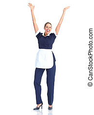 Waitress - Smiling waitress woman Isolated over white...