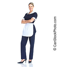 Waitress - Smiling waitress woman. Isolated over white...