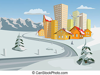 Vector city - Colorful winter vector city, Vector art
