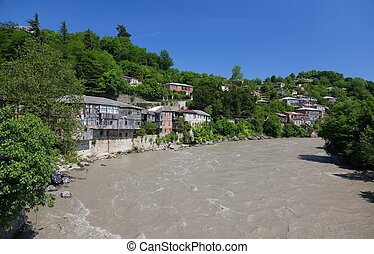 River Rioni. Kutaisi. Georgia. - View from a bridge to the...