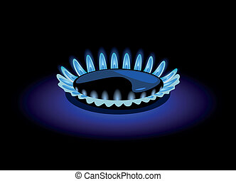 Blue flame of gas, vector illustration