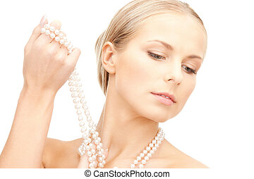 beautiful woman with pearl beads