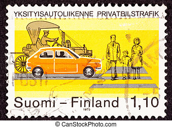 Canceled Finland Postage Stamp about Traffic Safety Shows...