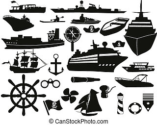 sailing objects icon set - black sailing objects icon set