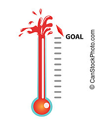 goal thermometer - Thermometer graphic showing breaking the...