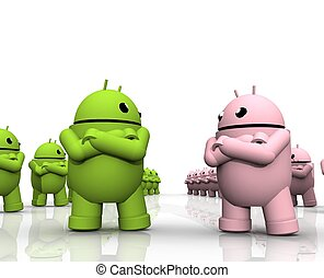 3D ANDROID FRICTION - A TWO GROUPS OF ANDROID ARE FACING...