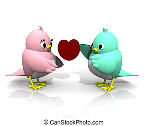 3D TWITTER BIRDS  GIVE HEART