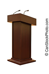 Tribune with two microphones - Wooden tribune with two...