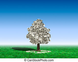 Money Tree Under Blue Sky - Money tree in the middle of a...