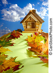 House on a Hill - Wooden house on a hill covered with fallen...